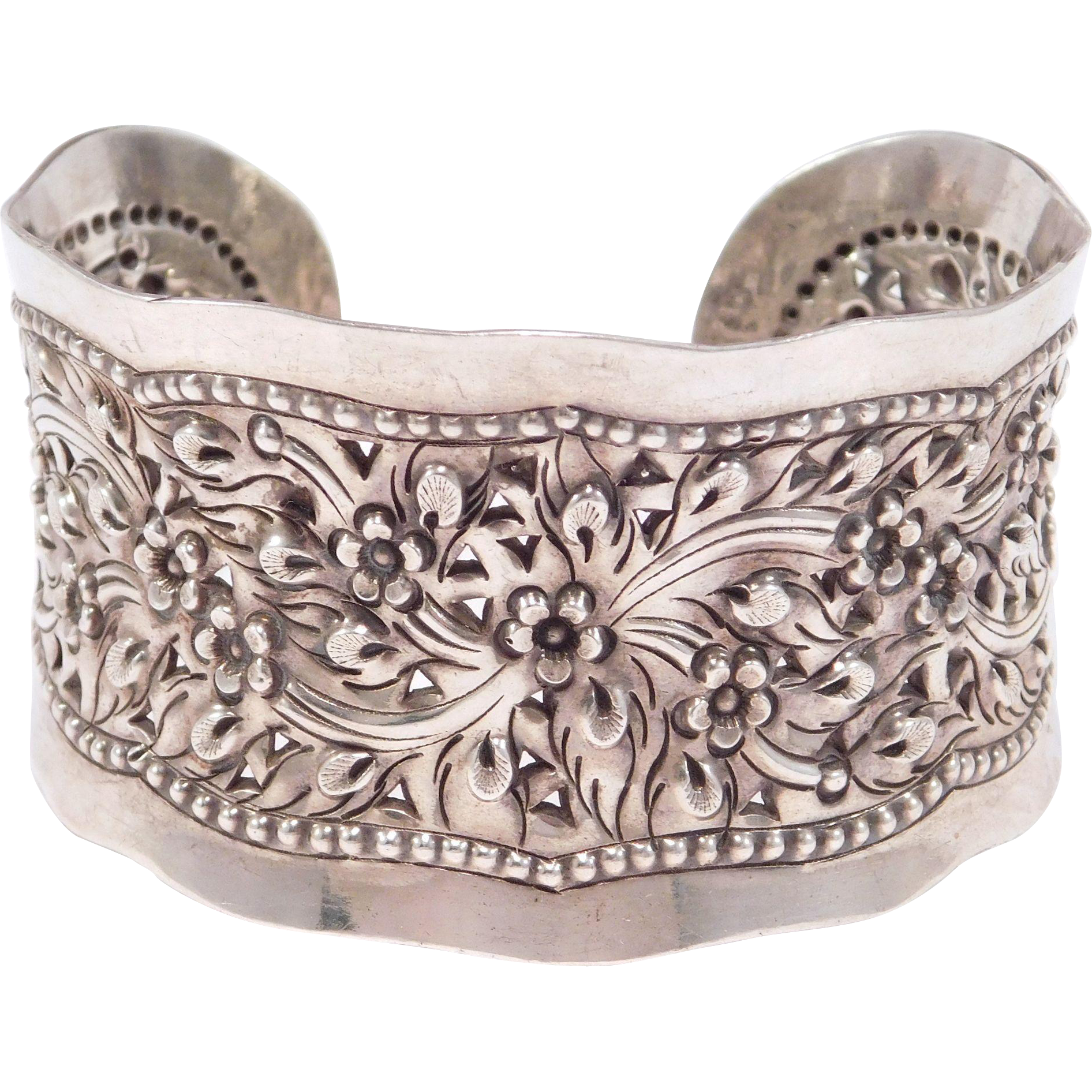 Wide Silver Bracelet: Wide Ornate Floral And Pierced Silver Beautiful Cuff