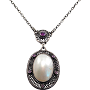 Arts & Crafts Jugendstil Signed Mother Of Pearl Amethyst Necklace 800 Silver
