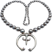 Navajo Sandcast Naja And Silver Beads Necklace