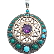 Victorian Silver Persian Turquoise & Amethyst Pendant