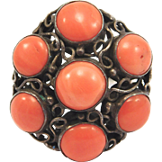 Arts And Crafts Salmon Coral Silver Ring Antique