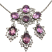 Victorian Silver & Amethysts Girandole Necklace Ornate