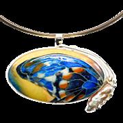 Sterling Artisan Cloisonne Enamel Butterfly Pendant