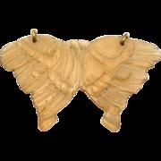 Art Nouveau Carved Horn Pendant Rare Butterfly Motif