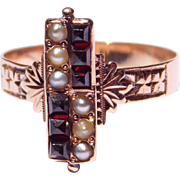 Victorian Rose Gold Garnets & Seed Pearls Ring 1880