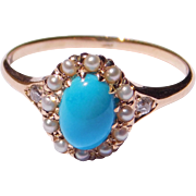 14K Persian Turquoise Seed Pearls & Diamonds Ring
