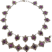 Mexican 980 Silver Amethyst Necklace & Bracelet Set
