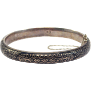 Victorian 800 Silver Niello Enamel Bangle Bracelet