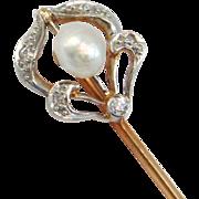 14K Art Nouveau Diamonds & Pearl Stickpin