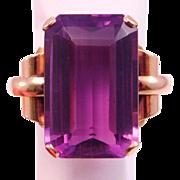 14K Retro Huge Amethyst Ring  20 Carats