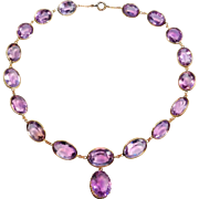 100 Carats Antique Amethyst Riviere Style Necklace 10K Rose Gold