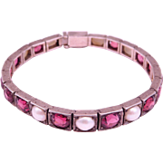 Art Deco Pearl & Rhodolite Garnet Line Bracelet