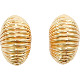 Estate Cartier 14K Seashell Earrings 17.5 Grams