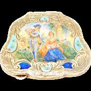 Italian Enamel Figural 800 Silver Compact Beautiful Antique