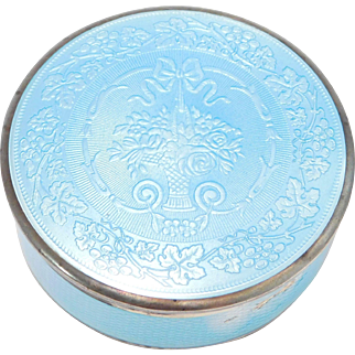 Sterling Pastel Blue German Enamel Box Art Deco