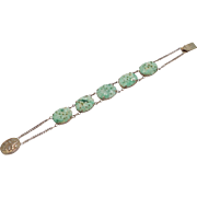 Art Deco Chinese Carved Jade Silver 5 Stone Bracelet