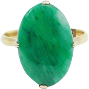 Art Deco 14K Jade Cabochon Ring Natural