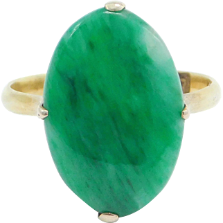 Art Deco 14K Jade Cabochon Ring Natural