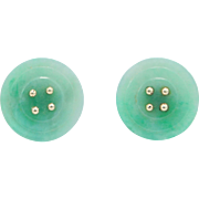 Antique 14K Jade Button Earrings Unique Carved