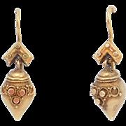 1880's Victorian 14K Etruscan Urn Drop Earrings