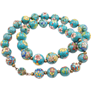 Early Cloisonne Chinese Enamel Beads Aqua Color