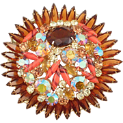 Huge Juliana D&E Rhinestone Flower Brooch