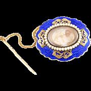 10K Georgian Memorial Hair Brooch Cobalt Enamel & Seed Pearls