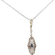 14K Sapphire Krementz Lavalier Art Deco Filigree