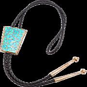 Southwest Silver & Turquoise Inlay Bolo Tie Pawn Era