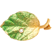 Krementz 14K Vitreous Enamel & Diamond Leaf Brooch