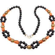 Unusual Barrel Coral & Silver Bead Ethnic Necklace