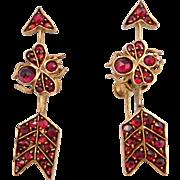 Victorian Garnet Bee Arrow Earrings Rose Cuts
