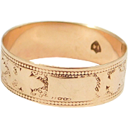 10K Victorian Engraved Rose Gold Band 1880'S