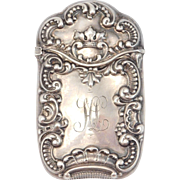 Victorian Sterling Repousse Matchsafe With Crown
