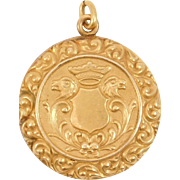 Victorian Gold Filled Locket Lions Heraldic Motif