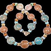 Pretty Strand Italian Venetian Glass Beads Vintage