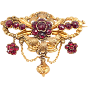 Victorian 9ct Gold Rose Cut Garnets Tiered Brooch