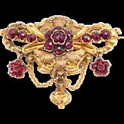 Victorian 9ct Gold Rose Cut Garnets Tiered Brooch
