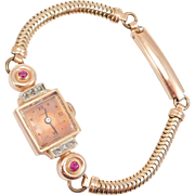 14K Retro Ladies Rose Gold Diamonds & Ruby Stone Watch Swiss Movement