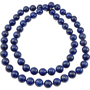 Unbelievable 15mm Lapis Beads Natural Knotted Estate Necklace