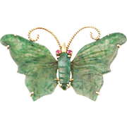 14K Chinese Spinach Jade Carved Butterfly Brooch Pin