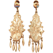 Gorgeous Victorian Long Drop Earrings Rose Gold Filled