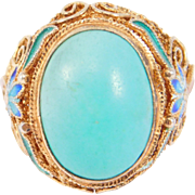Chinese Turquoise Silver Vermeil Filigree Cloisonne Ring