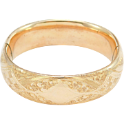 Wide Engraved Antique Gold Filled Bangle Bracelet