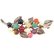 Beautiful Silver Ming's Pearl & Agates Brooch