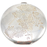 Sterling Silver Floral Japanese Design Compact