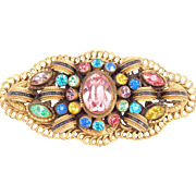 Large Brass & Pastel Crystals Antique Sash Brooch