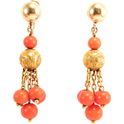 Exceptional 14K Antique Natural Coral Drop Earrings
