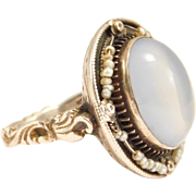 Antique Austro Hungarian Blue Moonstone & Seed Pearls Ring Silver