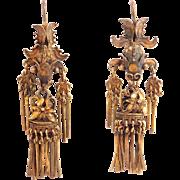 Victorian Chinese Silver Ornate Filigree Koi Earrings